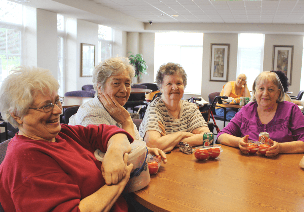 Seniors enjoying healthy food