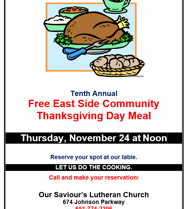 Free Thanksgiving Meal on the East Side!