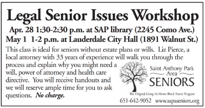 Free Legal Workshops Hosted by Saint Anthony Park Area Seniors