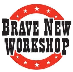 Logo is a red circle with stars and reads: Brave New Workshop