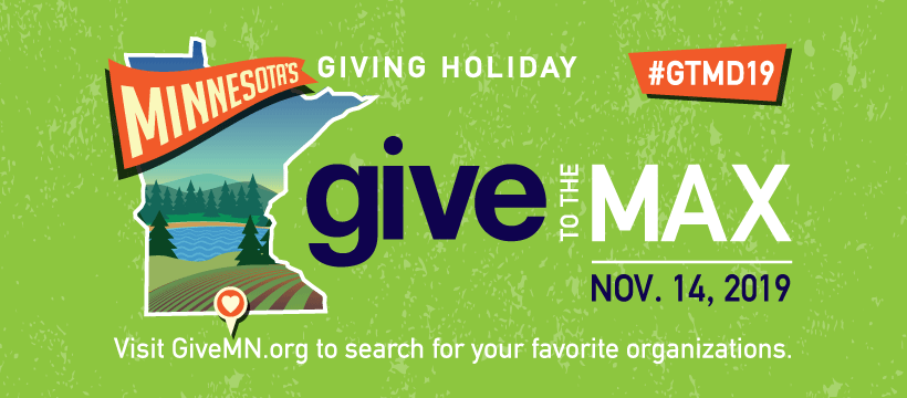 Give to the Max day graphic. State of Minnesota on a green background. Text reads: Minnesota's Giving Holiday. Give to the Max day.