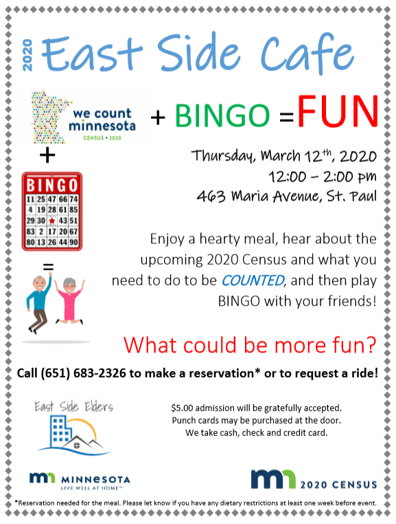 Flyer for the March 12th Elder Cafe. Bingo and info about the census. Details can be found in the body of the post.