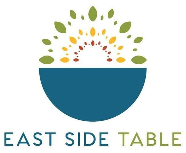 East Side Table Logo. Features a blue bow and geometric patterns
