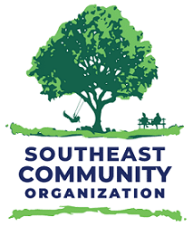 Logo for the Southeast Community Organization. Features a tree, a person swinging, and people sitting on a bench.