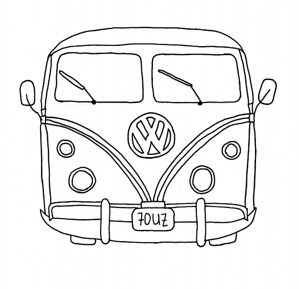 Coloring book page of a vw bus