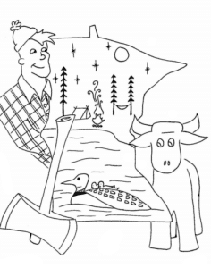 coloring page featuring Paul Bunyan and Babe