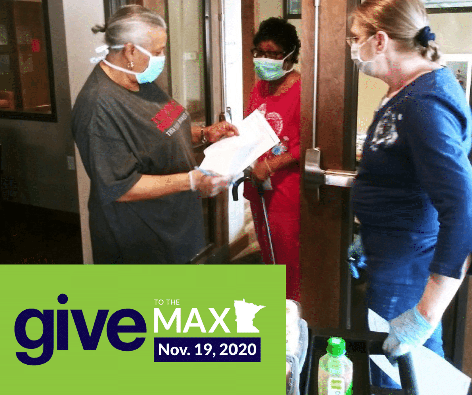 Three people in masks help with food distribution. Text reads: Give to the Max Nov 19, 2020