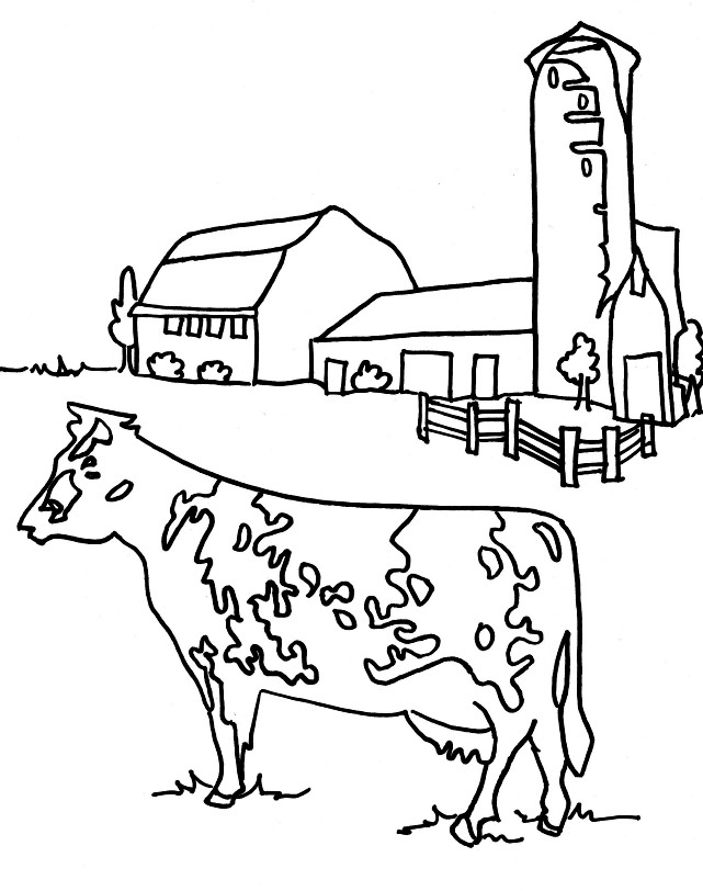 Farm scene coloring page featuring a cow