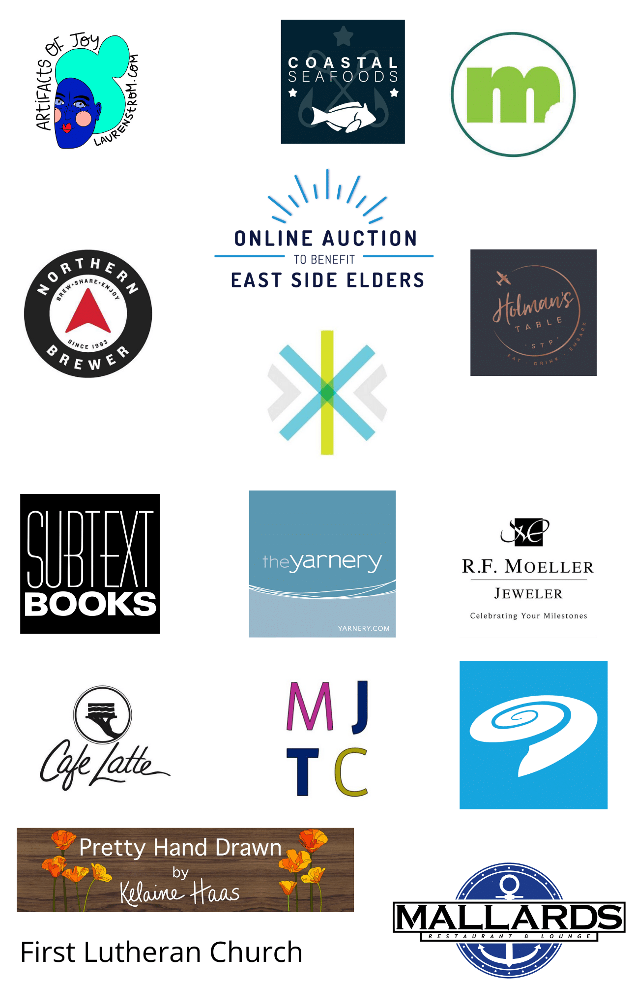 Collection of logos from businesses and organization that donated to the 2020 online auction.