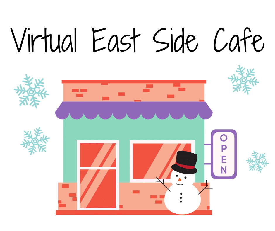 Image of a cafe with a snowman and snowflakes around