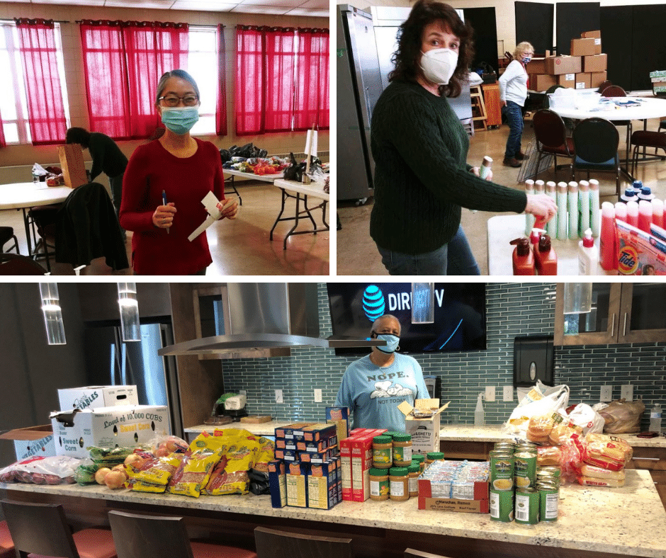 Collage of 3 images of masked volunteers helping with food distribution.