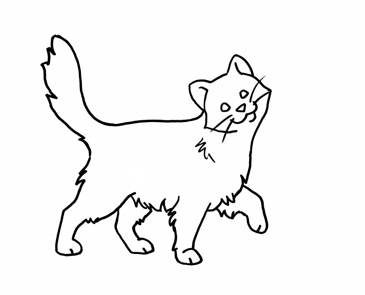 Coloring book page featuring a happy cat