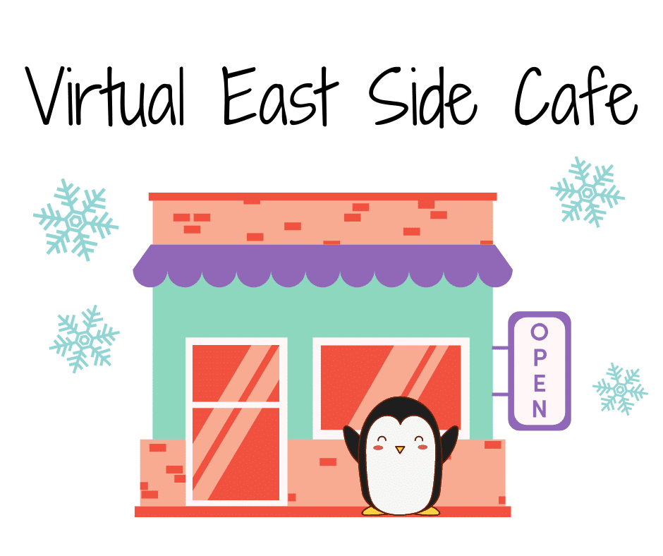 image of a colorful cafe with a penguin and snowflakes outside
