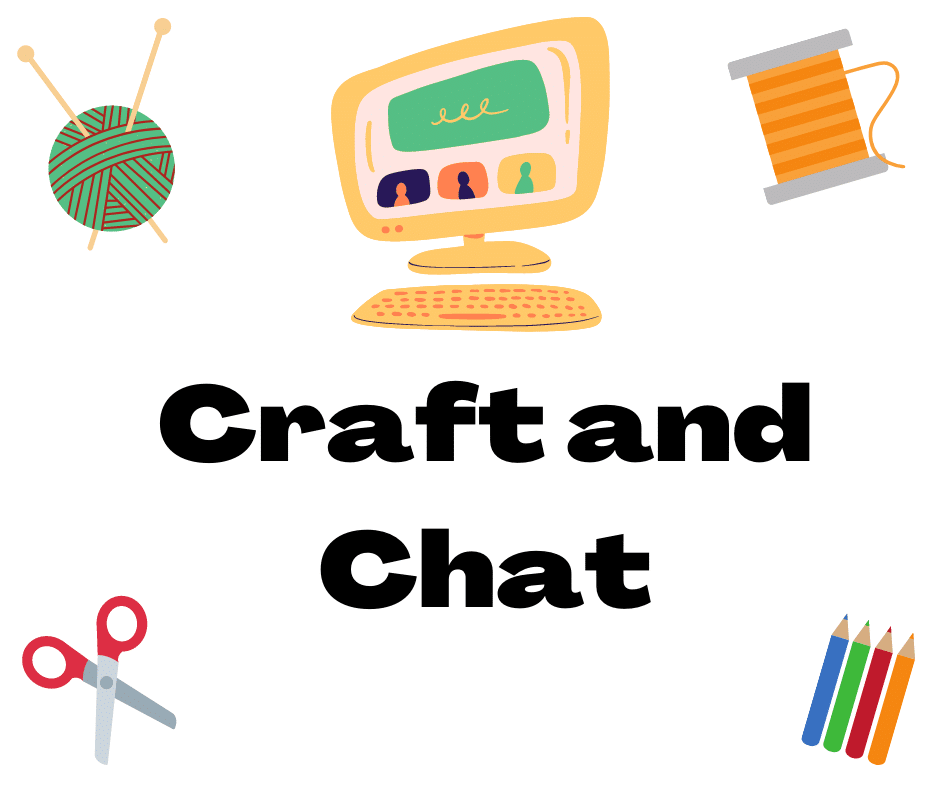 Image features a computer, yarn ball with knitting needles, thread, scissors, and colored pencils. Text reads: Craft and Chat