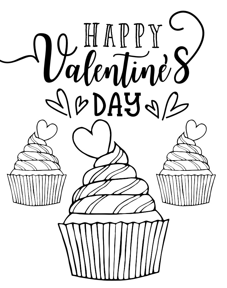 Valentine's Day coloring page featuring cupcakes topped with hearts.
