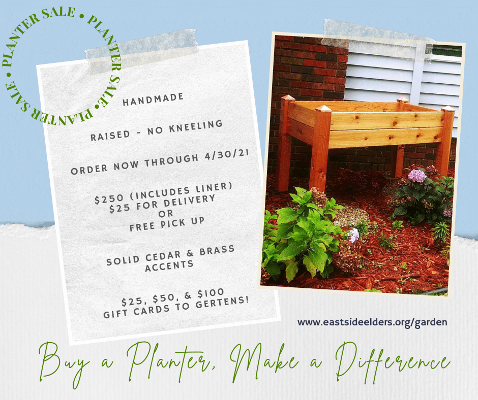 Promotional image for handmade cedar planters. Photo of a cedar planter and text that is also included in the body of this page, such as price and dimensions.