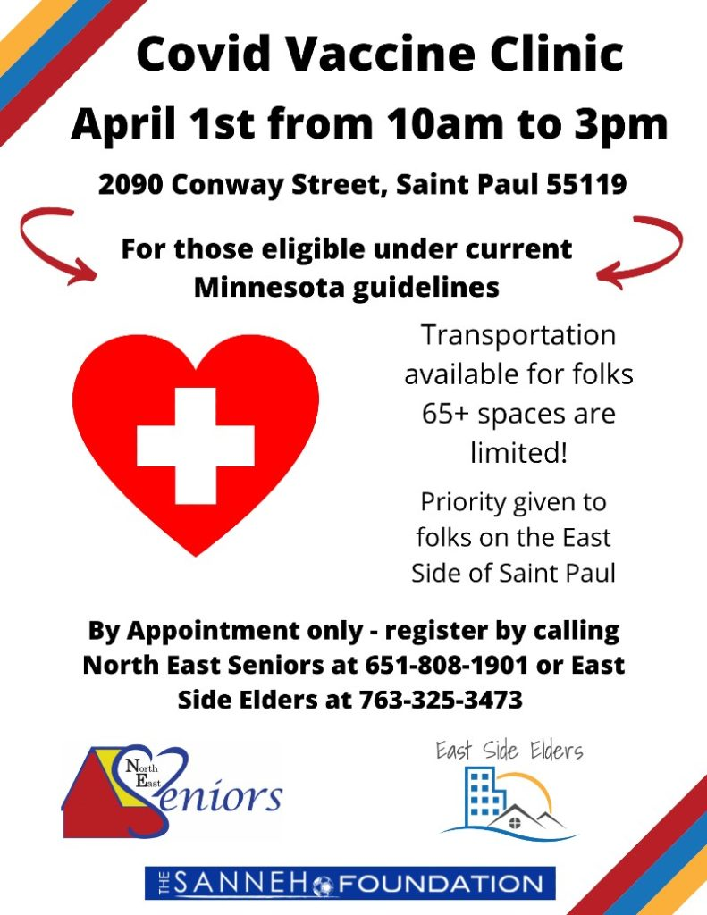 Flyer for a vaccine clinic on April 1st. Details are in the body of the post.