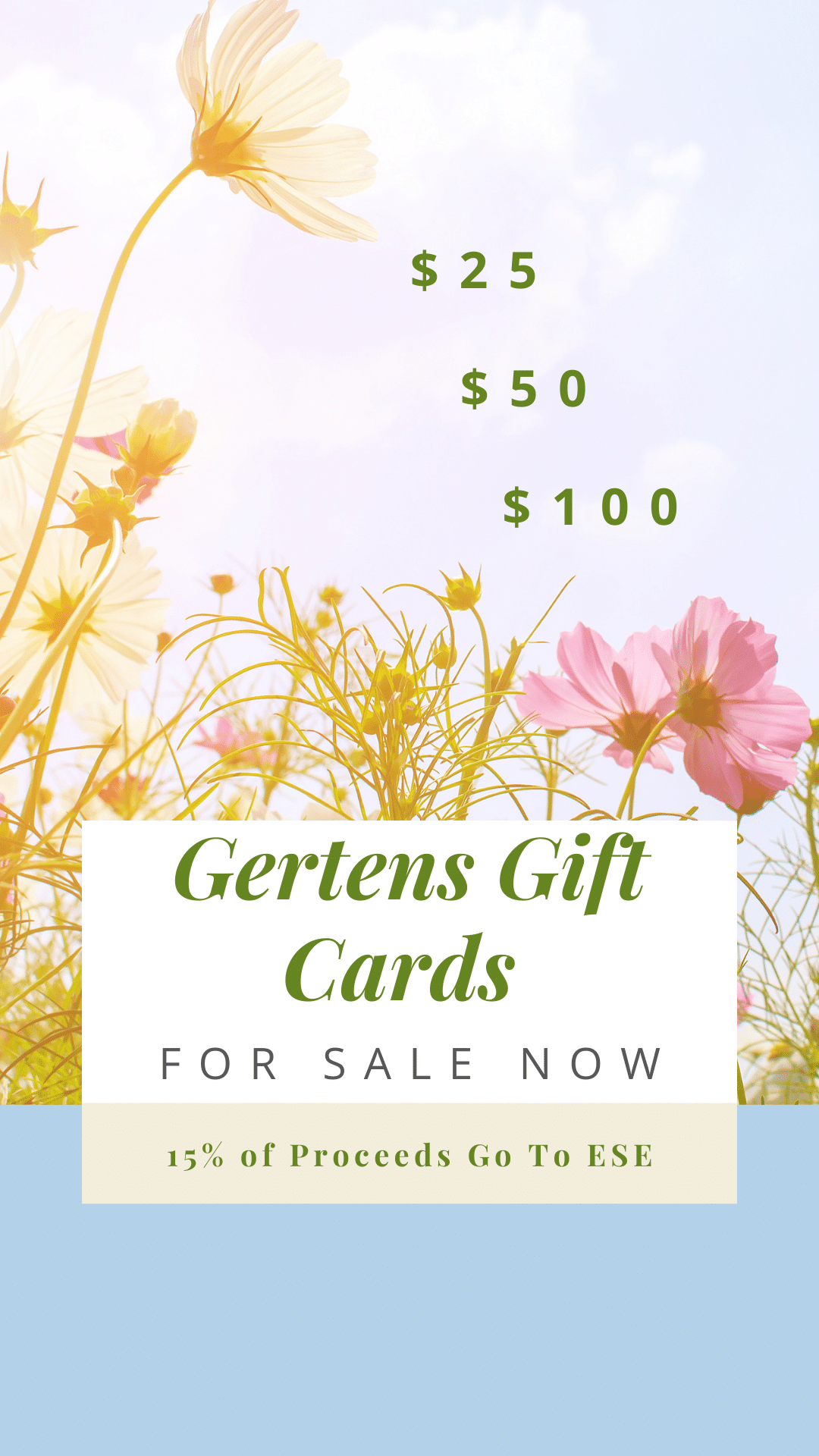 Background of yellow and pink plants. Text: $25 $50 $100.  Gertens Gift Cards. For sale now.