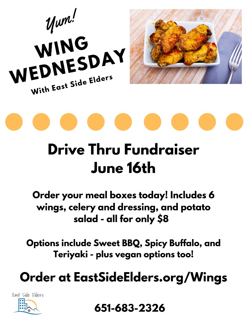 Flier for Wing Wednesday features a photograph of chicken wing and the information included in the body of the post.