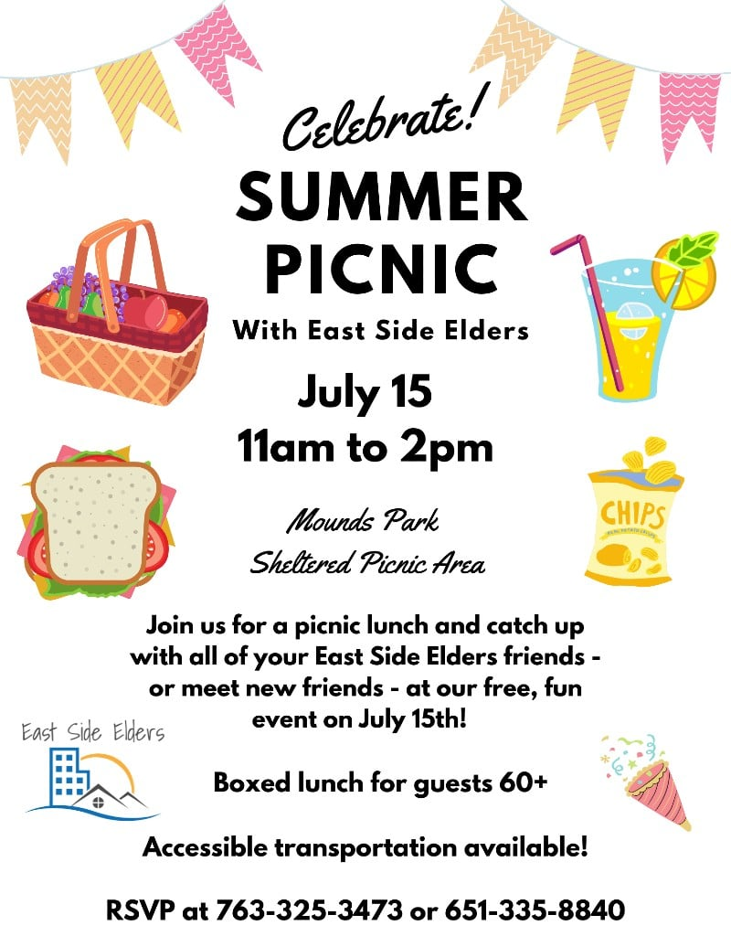 Flier for the July 15th summer picnic at Mounds Park Picnic Area from 11am to 2pm. RSVP at 763-325-3473. Flier features colorful bunting, and illustrative images of a picnic basket, sandwich, lemonade, chips, and a party horn.