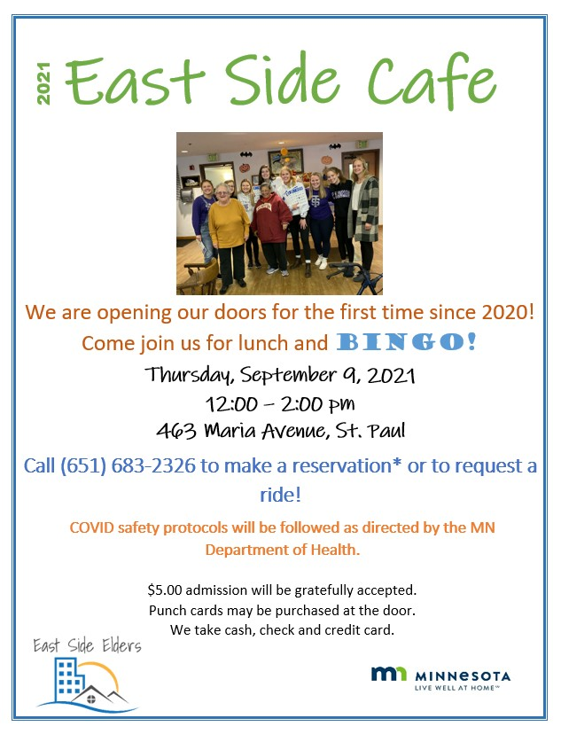 Flyer for the September East Side Cafe.  Event is on September 9th and includes bingo and meal.  Details are in the body of the post.