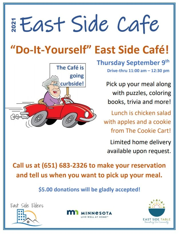 """Flyer for the September Café includes an illustrative image of an older person in a car with a sign that says """"The café is going curbside."""" Details are in the body of the post."""