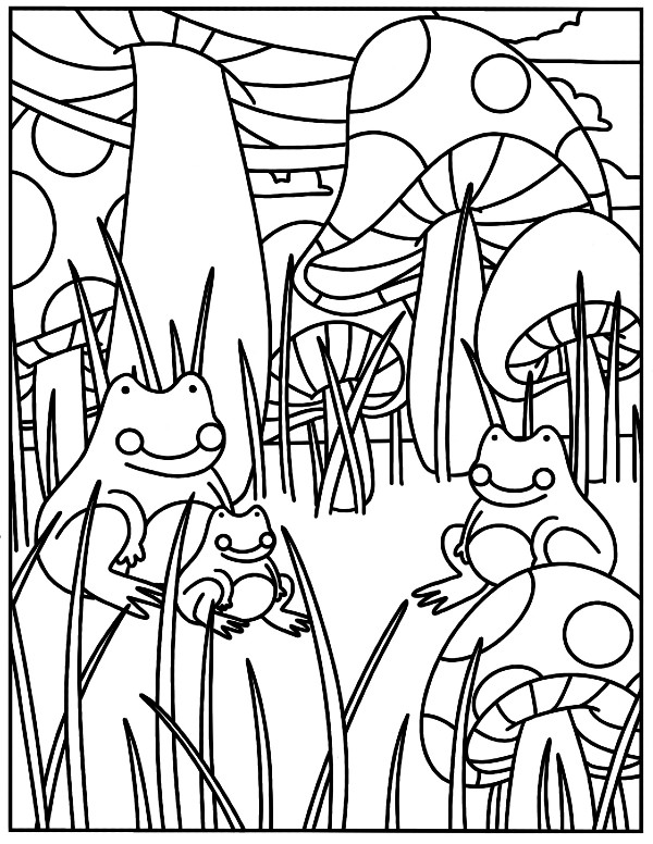 Coloring page image featuring frogs and mushrooms.