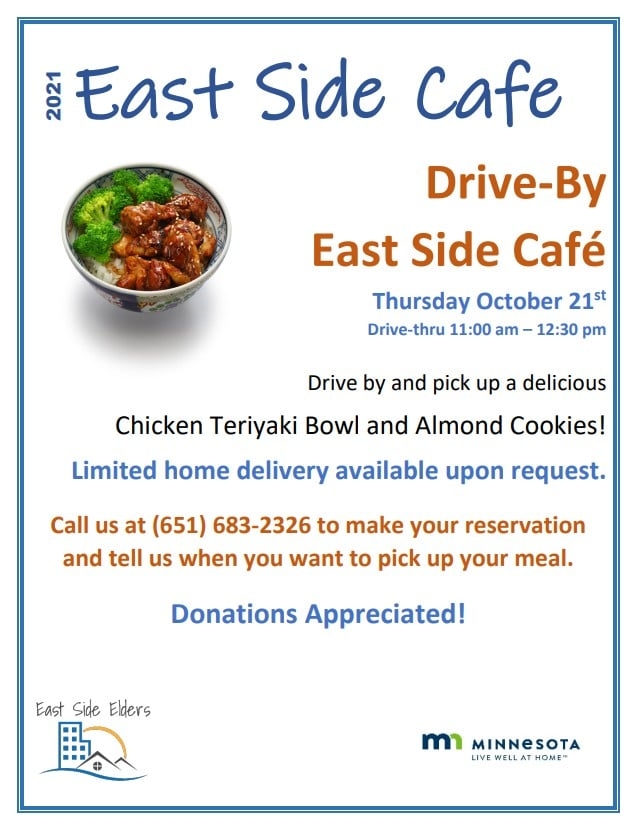 East Side Cafe flyer features a photo of a chicken and veggie bowl. Details are included in the body of the post.