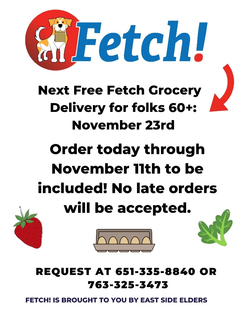 Flyer for the November grocery distribution on November 23rd. Fetch logo features a yellow and white dog holding a paper grocery bag. Details in the post.